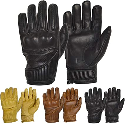 Knox CE Armoured Floating Knuckle Protection Perforated Unlined Summer Gloves GOLDTOP Mens Silk /& Unlined Predator Leather Motorcycle Gloves