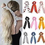 Boho Print Headbands, Rubber Ropes Ribbon Hair Band Elastic Ponytail Scarf Floral Bow Scrunchie Hair Bow Ties Hair Rope…