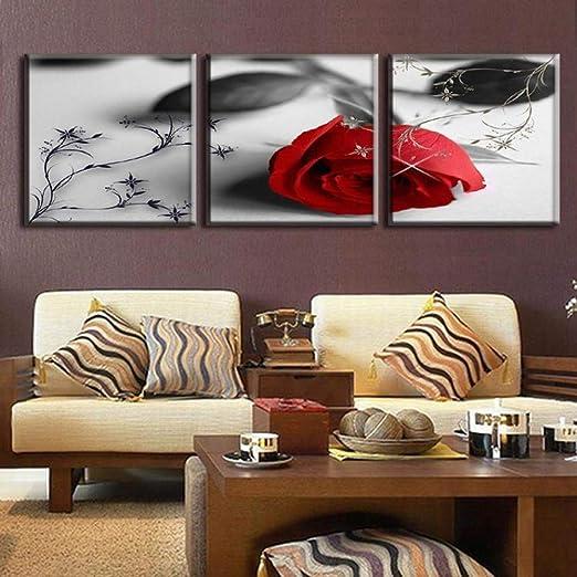 3 Pièces Set Fleurs En Gris Rose Rouge Combiné Peinture à L