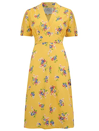18701540237ab The Seamstress of Bloomsbury Dolores Dress in Mimosa 1940's Authentic  Vintage Style (UK ...