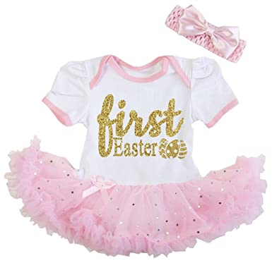 G G - Cute Baby Girls First Easter White and Pink Tutu Dress Outfit (Small 0 6ee69bc1e