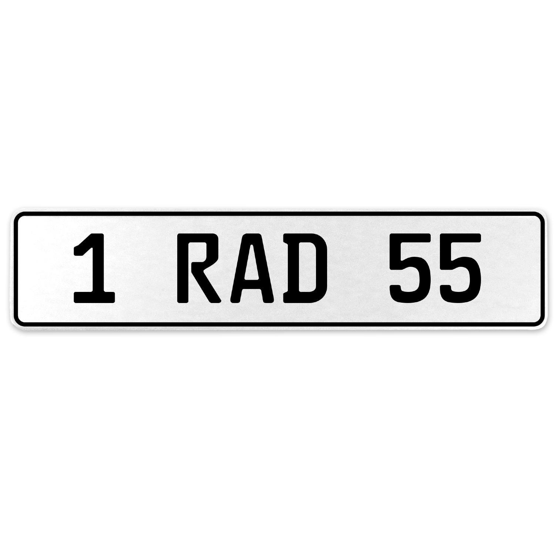 Vintage Parts 554058 1 RAD 55 White Stamped Aluminum European License Plate