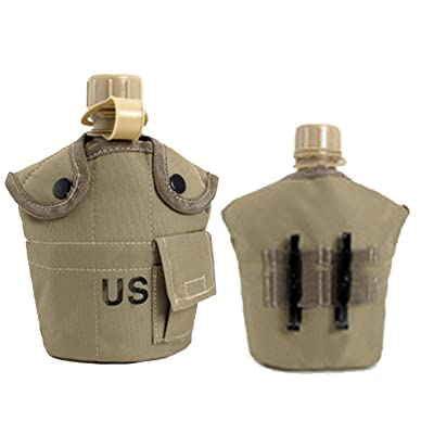 1L US Army Aluminum Canteen Water Bottle Hiking Camping Nylon Cover Tan