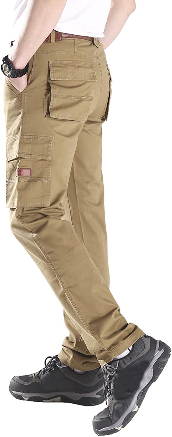 Mr.Stream Mens Slim Straight-Fit Cotton Multi-Pocket Work Wear Carrier Cargo Pant