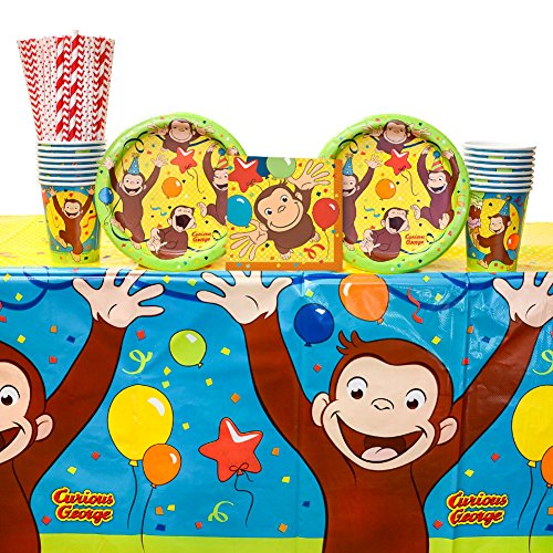 Curious George Party Supplies Pack for 16 Guests: Straws, Dessert Plates, Beverage Napkins, Cups, and Table Cover