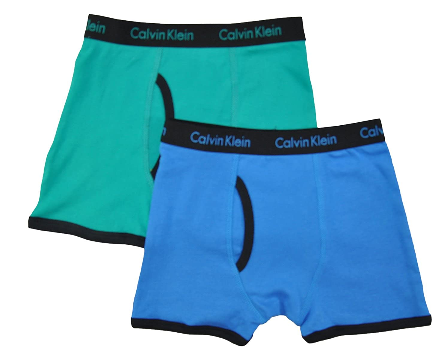 Calvin Klein Little/Big Boys' Assorted Boxer Briefs (Pack of 2), Blue/Teal ,6/7