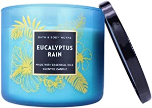 Bath & Body Works Large 3-Wick Eucalyptus Rain Scented Candles