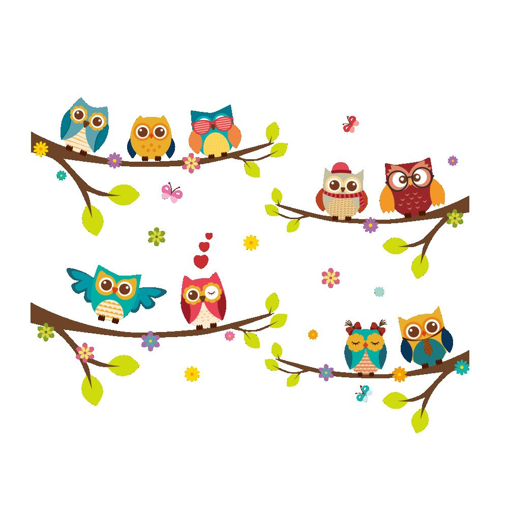 Amaonm Removable Cartoon 9 Family Owls On The Tree Branches Wall Decal Stickers Mural Peel and Stick Wall Art Decor Home Decorations for Your Kids Babys Room Walls Bedroom Living Room