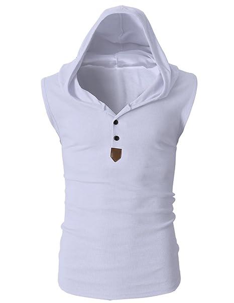 UUAISSO Hombres Sin Mangas Sudaderas con Capucha Camiseta Casual Sport Fitness T-shirt Blanco XXL: Amazon.es: Ropa y accesorios