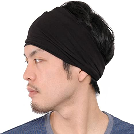 Casualbox Mens Womens Elastic Bandana Headband Japanese Long Hair Dreads Head  wrap Black 19eada125da