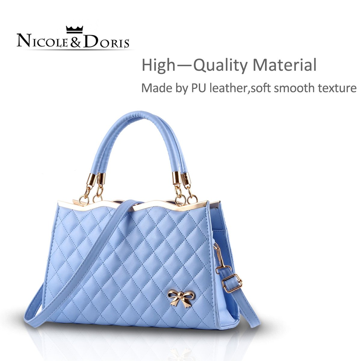 00d470da66a Nicole Doris New Women Ladies Handbag Shoulder Crossbody Bag Soft Surface  PU Leather Diamond Lattice Azure  Handbags  Amazon.com