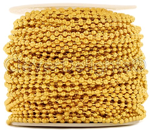 Tiparts 30 Feet 18K Gold Stainless Steel Ball Chains Necklace with 20pcs Connectors Clasps,Ball Beads Chain Sets Chain Width 2.4mm+20pcs connectors