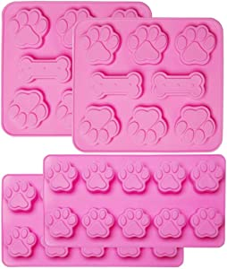 KEKU 4Packs Puppy Dog Paw and Bone Silicone Molds Biscuit Candy Chocolate Baking Pans Food Grade Silicone for Homemade