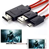 Handy zu TV Kabel, 6,5Füße Micro USB zu HDMI Kabel MHL auf HDMI 1080P HDTV Adapter-Kabel für Samsung Galaxy Galaxy S5/S4/S3/Note 3Galaxy Tab 38.0, Tab 310.1, Tab PRO, GALAXY NOTE 8, Note Pro 12.2