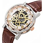 Watches, Mens Mechanical Skeleton Hand-Wind Steampunk Bling Watch for Men Women, Roman Numeral PU Leather Silver Rose-Gold Case Unisex Wrist Watch 10