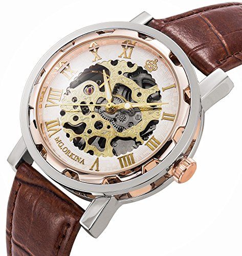 GuTe Steampunk Bling Skeleton Mechanical Hand-wind Wristwatch Silver Rose-gold Case 4