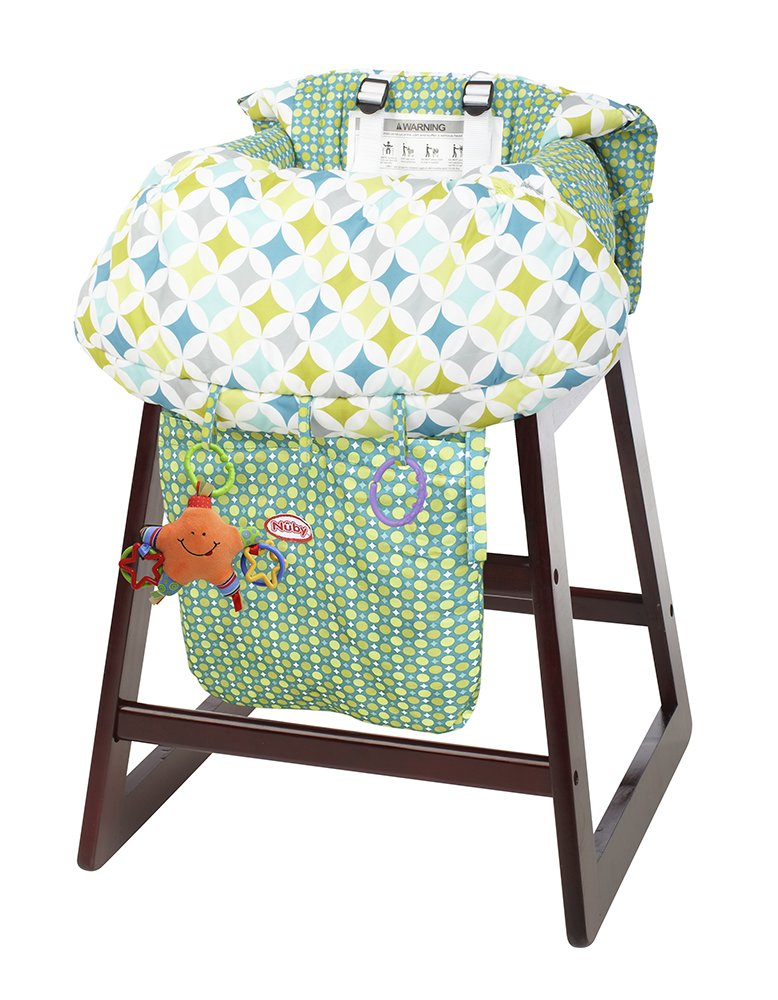 Nuby Shopping Cart and High Chair Cover, Universal Size, Adjustable Safety Straps, Folds into Handbag, Baby's High Chair Cover, Infant Shopping Cart, Green, Yellow and Blue Baby' s High Chair Cover 120031
