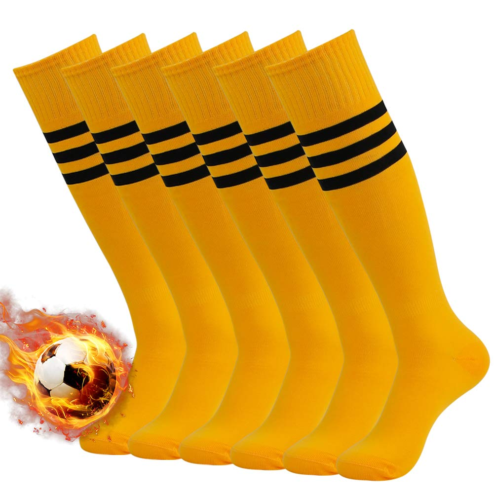 3street Unisex Sport Performance Thick Long Over Knee Triple Stripe Training Tube Socks for Christmas Orange+black stripe 6-Pairs,7-13 by Three street