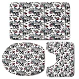 3 Piece Bath Mat Rug Set,Gothic,Bathroom Non-Slip Floor Mat,Day-of-the-Dead-Inspired-Human-Skulls-Design-with-Colorful-Flowers-Mexican-Tradition,Pedestal Rug + Lid Toilet Cover + Bath Mat,Multicolor