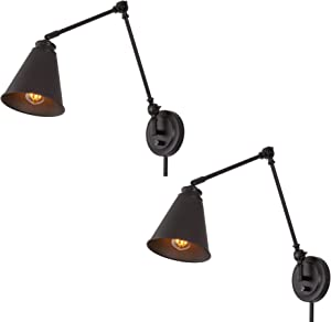 """Kira Home Ellis 18"""" Vintage Industrial Swing Arm Wall Lamp + Adjustable Head, Plug in/Wall Mount + Cord Covers, Oil Rubbed Bronze Finish, 2-Pack"""