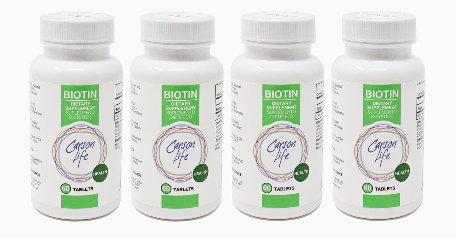 CARSON LIFE Biotin Supplement - 4 Pack, 60 Tablets Each - For Men and Women - Vitamin Supplement That Promotes Hair Growth - Advanced Formula Helps Boost Energy and Cell Growth - Made In The USA