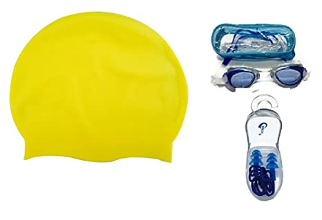 Complete Swimming Kit with Cap, Goggles and earplugs  7  Swimming