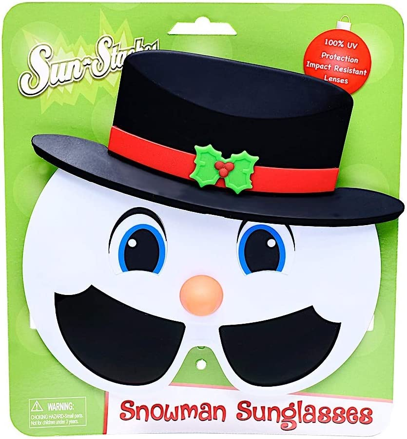 Black Sun-Staches Snowman Shades Tophat Holiday Novelty Instant Costume UV400 White