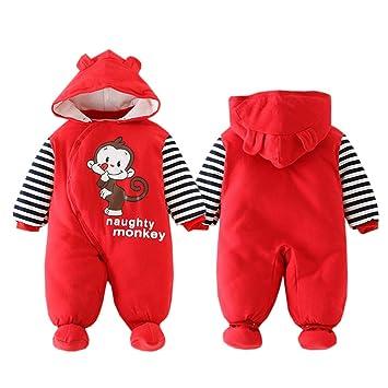 d0a4632f5 Amazon.com   ALLAIBB Newborn Baby Warm Footie Romper Hood Winter ...
