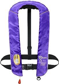 EYSON ライフジャケット 手動膨張 ベストタイプ 首かけ 救命胴衣 男女兼用 CE認定済 10色