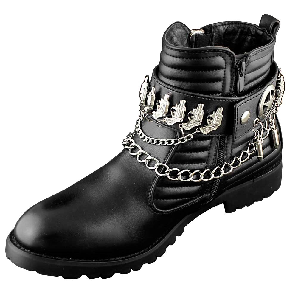 Cool Leather Boot Chain Gun Strap Western Biker Rock Shoes Chain Black L43