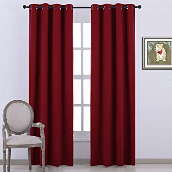 Red Curtains amazon red curtains : Amazon.com: Nicetown Room Darkening Blackout Curtains - (Burgundy ...