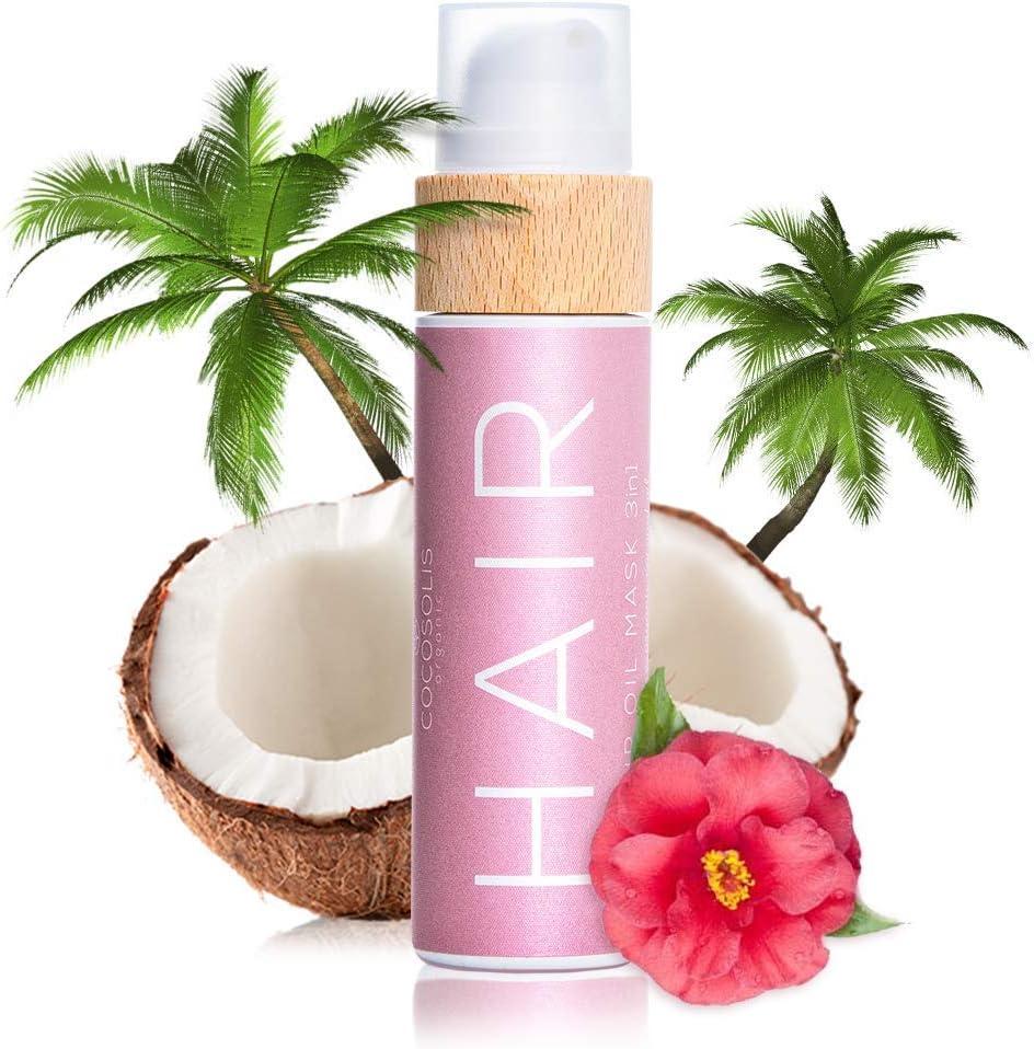COCOSOLIS Aceite orgánico para el cabello 3 en 1 con aceites esenciales- Reparador pello, mascarilla pello y protector solar cabello - Para cabello, uñas, pestañas - Aroma tropical (110 ml)