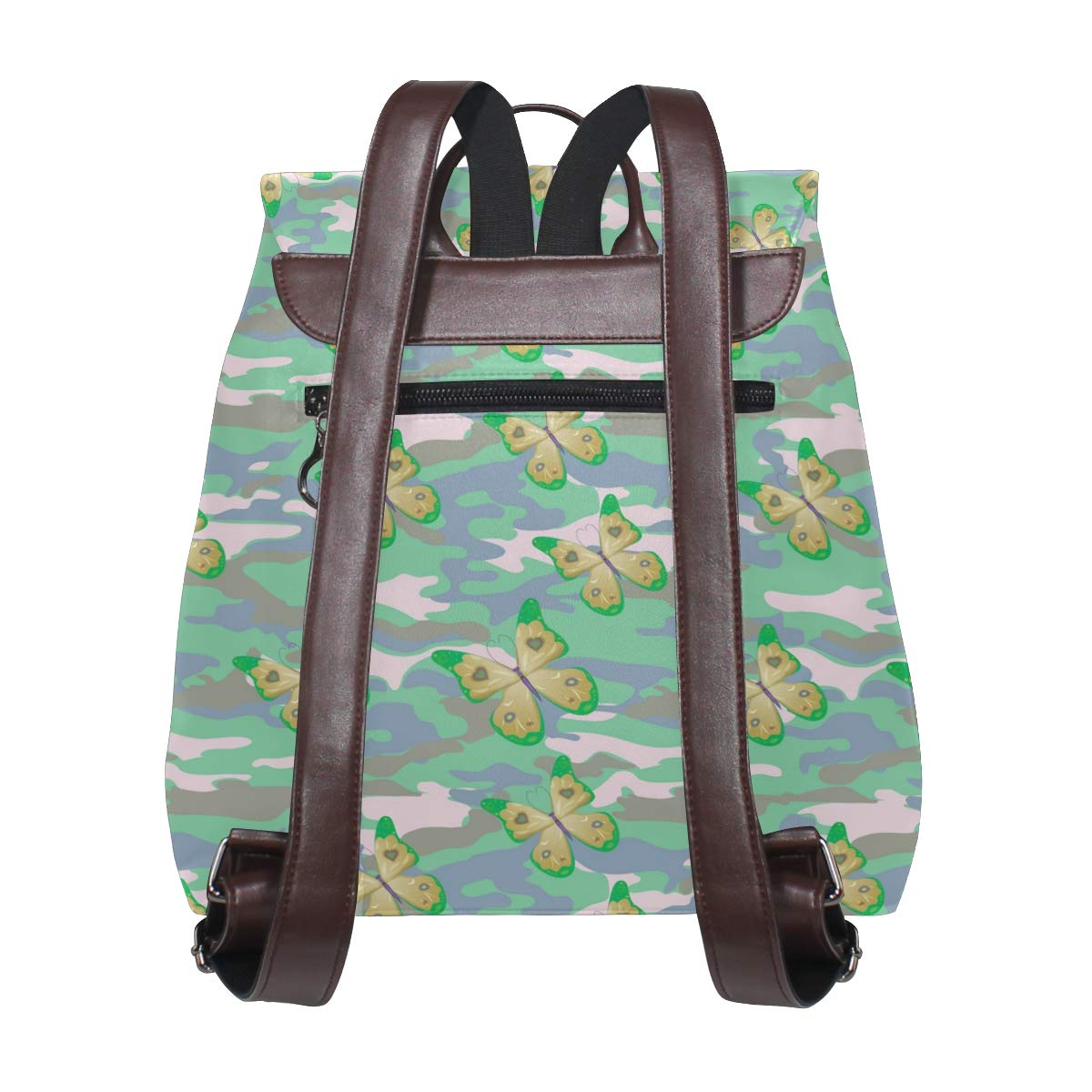 Unisex PU Leather Backpack Yellow Butterfly On The Teal Camo Print Womens Casual Daypack Mens Travel Sports Bag Boys College Bookbag