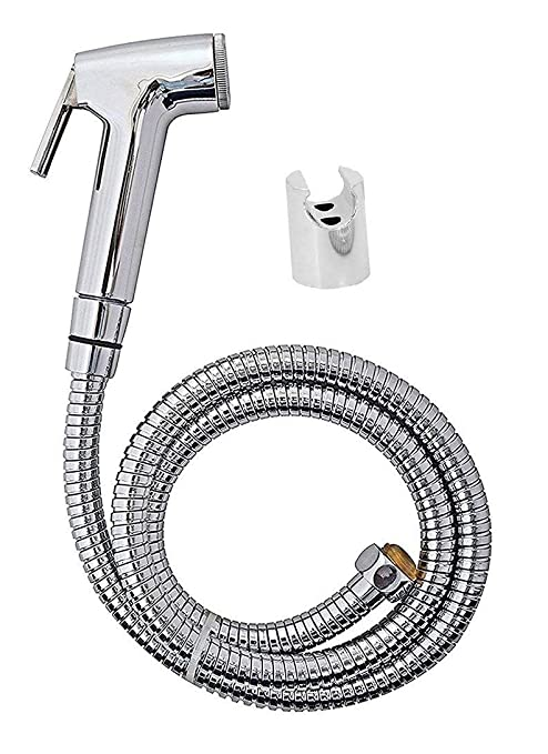 Quick Silver Abs County Health Faucet with Stainless Steel 1 Meter Flexible Shower Tube and PVC Holder