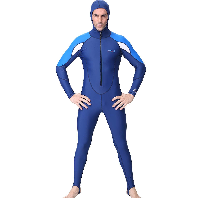 FEDULK Men Hooded Diving Suit Long Full Body Scuba Wet Suit Surf Swimming Jumpsuit One Piece Wetsuit(Blue, X-Large)