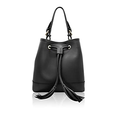 fcce0fde6f00 Amazon.com  CAMILLA Italian Bucket shoulder bag crossbody purse with  fringes Saffiano pebble leather Made in Italy  Shoes