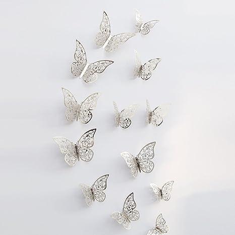 JiaMeng Decoración del hogar, 12 Piezas 3D Hueco Pegatinas de Pared Nevera de Mariposa para