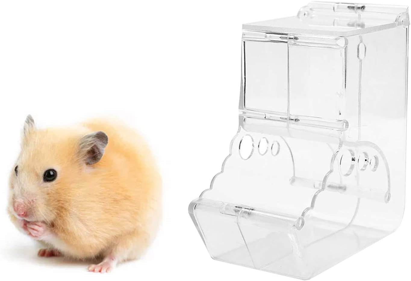 Qielie 400ML Hamster Feeder,Automatic Food Dispenser Plastic Bowl ,Suitable for Feeding Hamsters, Guinea Pigs, Pigeons, Parrots, Hedgehog,and Other Small Animals