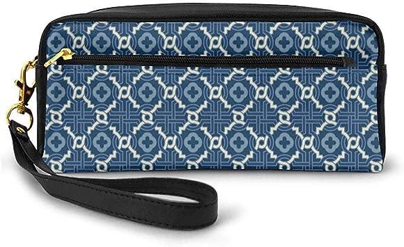Tema de Mosaico árabe étnico Entrelazado Motivos curvos de Marrakech Arte de Azulejos Pequeña Bolsa de Maquillaje Estuche de lápices 20cm * 5.5cm * 8.5cm: Amazon.es: Equipaje