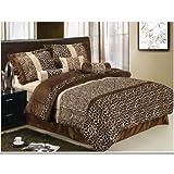 13 Piece Safari Zebra/Giraffe Print Brown Micro Fur Queen Size Comforter Set Bed in a Bag