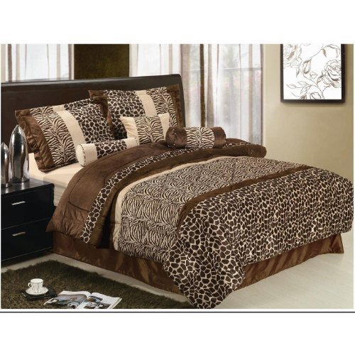 13 Piece Safari Zebra/Giraffe Print Brown Micro Fur Queen Size Comforter Set Bed in a Bag