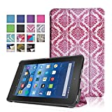 TNP New Fire 7 Case (Damask Pink) - Ultra Slim Lightweight Folding Folio Cover Stand with Hard Rubberized Back for Amazon New Fire 7 Inch (5th Generation) 2015 Release Tablet