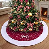 Christmas Tree Skirts 48 inch-Christmas Tree Skirts Velvet-Burgundy Traditional Red and White Snowflakes Christmas Tree Skirt-Christmas Tree Skirt Mat for Christmas Holiday Party Decoration (2)