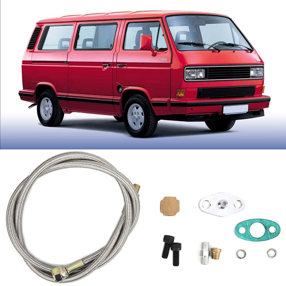 filettatura 1//8 NPT Kit alimentazione tubo di ritorno ritorno olio turbo Accessori per adattamento per T3 Qiilu Kit linea olio turbo per auto