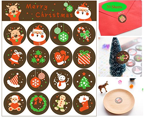 Efivs Arts 320pcs Cute Christmas Decorative Adhesive Label Personalized Decorative Sealing Stickers For Christmas Party - Christmas Stickers Personalized