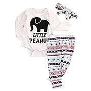 Newborn Infant Baby Boy Girl Elephant Headband+Romper+Pant Leggings Outfits Set (0-3M, White)