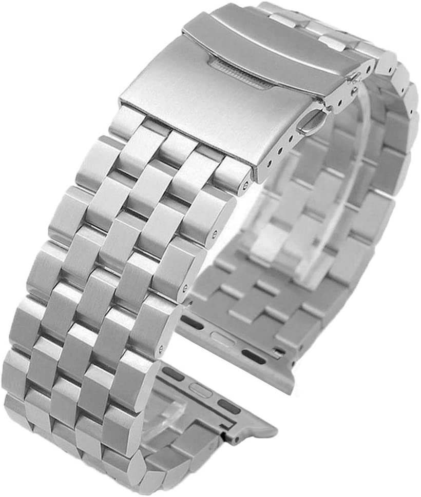 Premium Silver Brushed Watch Band Compatible for Apple Watch 38mm/40mm, 5 Rows Stainless Steel Strap Bracelet Replacement for iWatch Bands for Apple Watch Series 6 SE 5 4 3 2 1