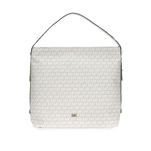 2cf6e152aa435b MICHAEL Michael Kors Griffin Large Logo Jacquard Shoulder Bag - Nat/Lt  Cream: Handbags: Amazon.com