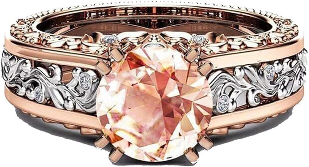 IVERIRMIN Aleación de Mujer Plateada 14k Oro Rosa Anillo de Piedras Preciosas patrón de Flor