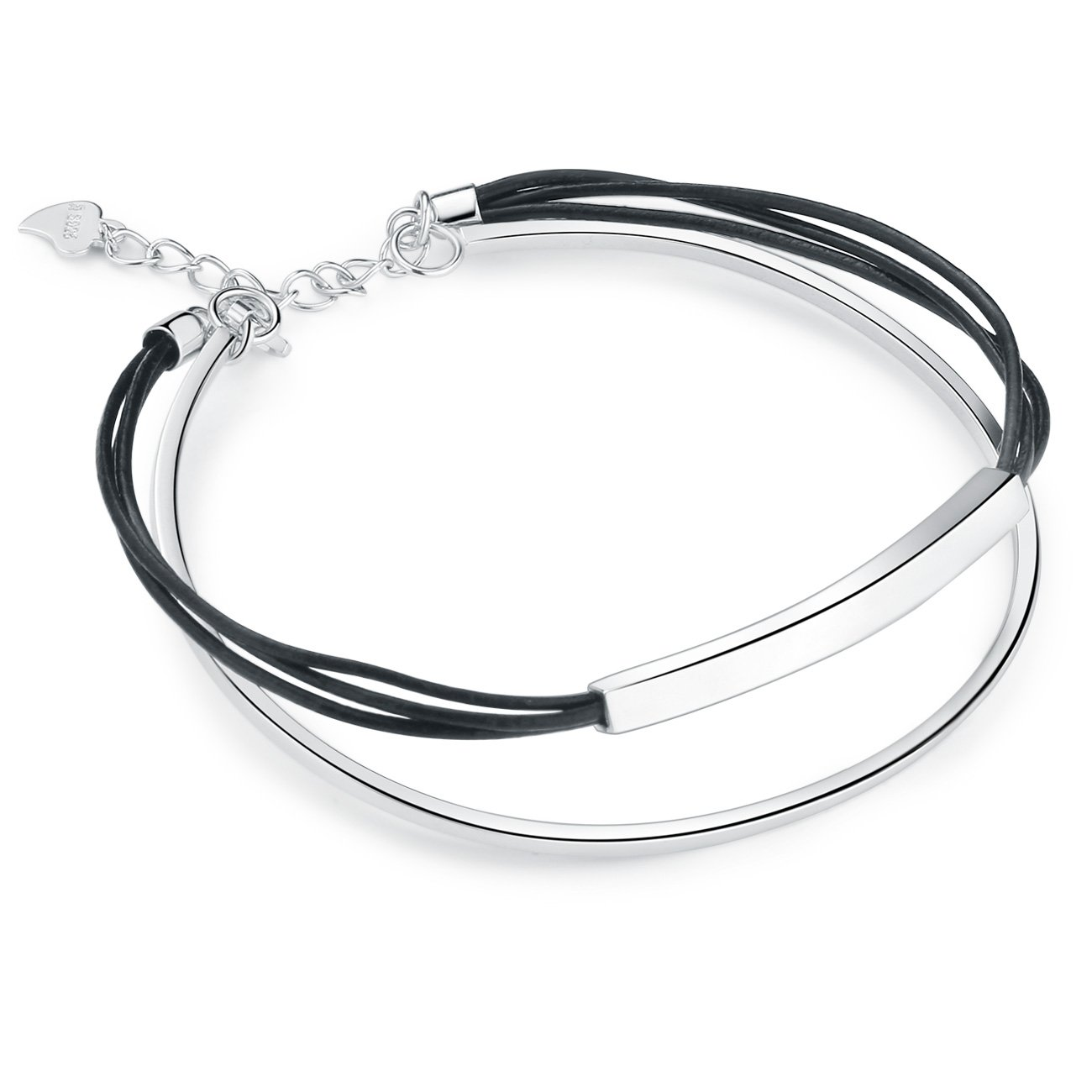 SA SILVERAGE 925 Sterling Silver Black Leather Rope Wrap Bracelets for Cool Women Men 2-Layer Cuff